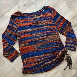 🦋 5 for 25 NWOT Boho Mandala Cinched Side Blouse